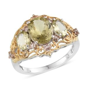 Canary Apatite, Champagne Garnet 14K YG and Platinum Over Sterling Silver Openwork Ring (Size 8.0) TGW 4.94 cts.