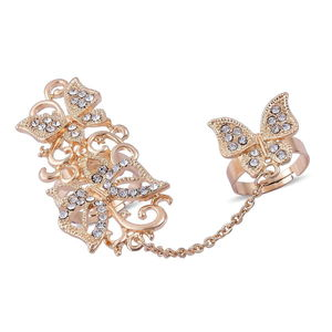 Austrian Crystal Goldtone Chain Linking Double Finger Openwork Butterfly Ring (Adjustable)