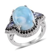 Larimar, Tanzanite, Thai Black Spinel Platinum Over Sterling Silver Statement Ring (Size 7.0) TGW 15.68 cts.