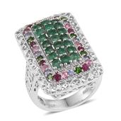 Multi Gemstone Platinum Over Sterling Silver Ring (Size 6.0) TGW 3.820 cts.