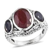 Ruby, Blue Sapphire (Color Enhanced) Sterling Silver Ring (Size 8.0) TGW 12.090 cts.