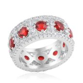 Simulated Red Diamond, Simulated Diamond Silvertone Ring (Size 8.0) TGW 8.960 cts.