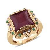 SUGAR by Gay Isber Niassa Ruby, Multi Gemstone 14K YG Over Sterling Silver Ring (Size 8.0) TGW 11.020 cts.