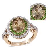 Dan's Deals - 14K YG Turkizite, Russian Diopside, Diamond Split Ring (Size 7.0) TDiaWt 0.43 cts, TGW 3.830 cts.