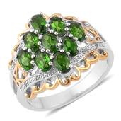 Russian Diopside, White Topaz 14K YG Over and Sterling Silver Openwork Ring (Size 7.0) TGW 2.570 cts.