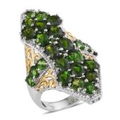 Russian Diopside, White Zircon 14K YG and Platinum Over Sterling Silver Elongated Ring (Size 5.0) TGW 8.460 cts.