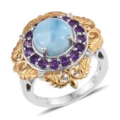 Larimar, Amethyst, White Topaz 14K YG and Platinum Over Sterling Silver Ring (Size 7.0) TGW 6.43 cts.