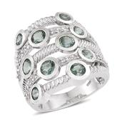Green Kyanite, White Topaz Platinum Over Sterling Silver Openwork Ring (Size 9.0) TGW 5.150 cts.