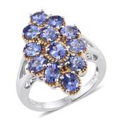 Tanzanite 14K YG and Platinum Over Sterling Silver Split Ring (Size 6.0) TGW 4.650 cts.