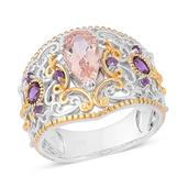 Marropino Morganite, Amethyst 14K YG and Platinum Over Sterling Silver Openwork Ring (Size 6.0) TGW 1.490 cts.