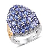 Mega Clearance Tanzanite, White Topaz 14K YG and Platinum Over Sterling Silver Cluster Ring (Size 9.0) TGW 7.710 cts.