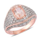 Marropino Morganite, White Topaz 14K RG Over Sterling Silver Ring (Size 6.0) TGW 3.000 cts.