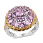 KARIS Collection - Simulated Pink Diamond ION Plated 18K YG and Platinum Bond Brass Statement Ring (Size 7.0) TGW 8.40 cts.