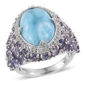 Larimar, Catalina Iolite, White Topaz Platinum Over Sterling Silver Statement Ring (Size 7.0) TGW 16.40 cts.