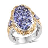 Tanzanite 14K YG and Platinum Over Sterling Silver Openwork Ring (Size 5.0) TGW 3.830 cts.