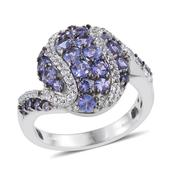 Tanzanite, White Topaz Platinum Over Sterling Silver Ring (Size 7.0) TGW 2.66 cts.
