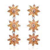 Yellow Sapphire Platinum Over Sterling Silver Floral Dangle Earrings TGW 5.870 cts.