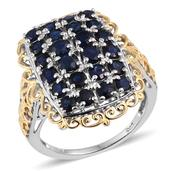 Kanchanaburi Blue Sapphire 14K YG and Platinum Over Sterling Silver Openwork Cluster Ring (Size 7.0) TGW 3.920 cts.
