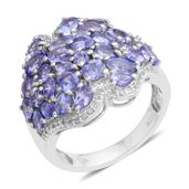 Tanzanite, White Topaz Platinum Over Sterling Silver Ring (Size 5.0) TGW 4.50 cts.