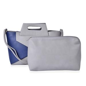 J Francis - Gray and Navy Blue Faux Leather Handbag with Matching Multi Purpose Bag (15x5x10 in)