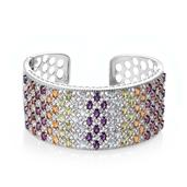 Multi Gemstone Platinum Over Sterling Silver Openwork Cuff TGW 29.37 cts.