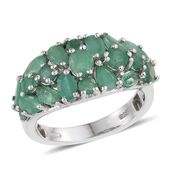Kagem Zambian Emerald Platinum Over Sterling Silver Ring (Size 5.0) TGW 3.79 cts.