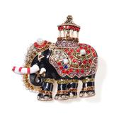 Multi Color Austrian Crystal, Simulated Pearl, Enameled Goldtone Elephant Brooch