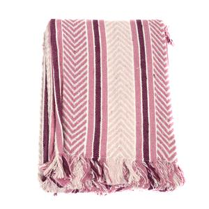 Pink Blue Chevron and Stripes 80 % Cotton 20% Fringe Throw (50x60 in)