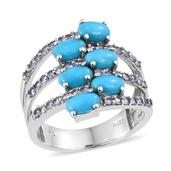 Arizona Sleeping Beauty Turquoise, Tanzanite Platinum Over Sterling Silver Ring (Size 7.0) TGW 3.240 cts.