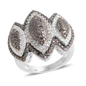 Black Diamond (IR), Diamond Platinum Over Sterling Silver Ring (Size 6.5) TDiaWt 1.00 cts, TGW 1.00 cts.