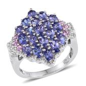 Premium AAA Tanzanite, Pink Sapphire, White Topaz Platinum Over Sterling Silver Ring (Size 7.0) TGW 3.880 cts.