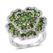 Russian Diopside, White Topaz Platinum Over Sterling Silver Openwork Carnation Ring (Size 6.0) TGW 5.91 cts.