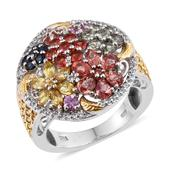 Multi Sapphire, White Topaz 14K YG and Platinum Over Sterling Silver Ring (Size 5.0) TGW 4.260 cts.