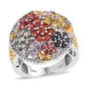 Multi Sapphire, White Topaz 14K YG and Platinum Over Sterling Silver Ring (Size 6.0) TGW 4.260 cts.
