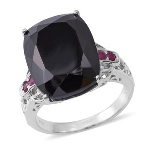Thai Black Spinel, Ruby Platinum Over Sterling Silver Openwork Cocktail Ring (Size 11.0) TGW 26.98 cts.