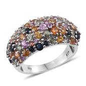 Multi Sapphire Platinum Over Sterling Silver Cluster Ring (Size 8.0) TGW 4.440 cts.