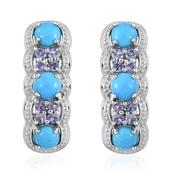 Arizona Sleeping Beauty Turquoise, Tanzanite Platinum Over Sterling Silver J-Hoop Earrings TGW 3.380 cts.