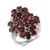 Mozambique Garnet, White Topaz 14K YG and Platinum Over Sterling Silver Ring (Size 5.0) TGW 12.360 cts.