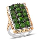 Russian Diopside 14K YG Over and Sterling Silver Elongated Ring (Size 6.0) TGW 6.480 cts.
