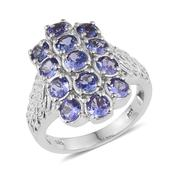 Tanzanite Platinum Over Sterling Silver Cuff Ring (Size 6.0) TGW 3.50 cts.