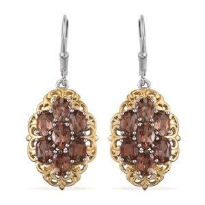 Jenipapo Andalusite 14K YG and Platinum Over Sterling Silver Lever Back Earrings TGW 6.55 Cts.