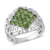 Russian Diopside Sterling Silver Openwork Ring (Size 7.0) TGW 1.42 cts.