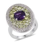 Amethyst, Hebei Peridot, White Topaz Platinum Over Sterling Silver Elongated Ring (Size 9.0) TGW 6.51 cts.