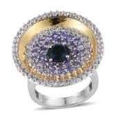 London Blue Topaz, Tanzanite, White Topaz 14K YG and Platinum Over Sterling Silver Ring (Size 6.0) TGW 4.25 cts.