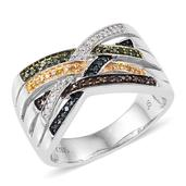 Jewel Studio by Shweta Multi Color Diamond Platinum Over Sterling Silver Ring (Size 7.0) TDiaWt 0.29 cts, TGW 0.290 cts.