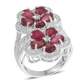 Niassa Ruby, White Topaz Sterling Silver Openwork Elongated Floral Ring (Size 5.5) TGW 9.740 cts.