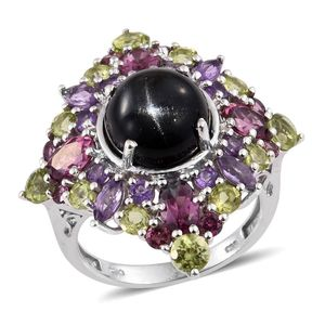 Indian Black Star Diopside, Multi Gemstone Platinum Over Sterling Silver Ring (Size 7.0) TGW 14.34 cts.