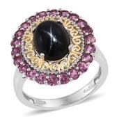 Indian Black Star Diopside, Orissa Rhodolite Garnet 14K YG and Platinum Over Sterling Silver Ring (Size 8.0) TGW 7.400 cts.