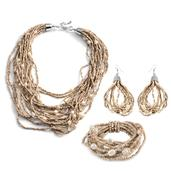 Beige Seed Bead, Simulated Pearl Stainless Steel Earrings, Bracelet (Stretchable) and Necklace (18 in)