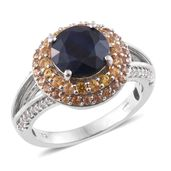 Kanchanaburi Blue Sapphire, Orange and Yellow Sapphire Platinum Over Sterling Silver Split Ring (Size 9.0) TGW 4.79 cts.